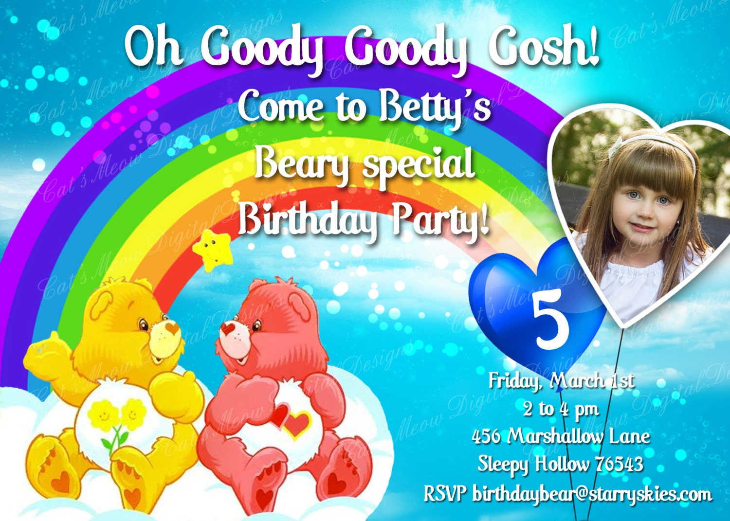 Care Bear Birthday Invitation Personalized Care Bear Invite – Care Bear Birthday Invitations
