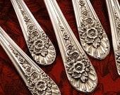 Set 4 Rogers JUBILEE Teaspoons by Wm Rogers Mfg. 1953 Vintage Silver Plate Silverware Silverplate Roses