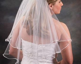 2 layer elbow length veil