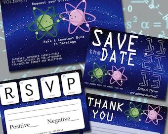 Printable Science Geek  Wedding Invitation Set