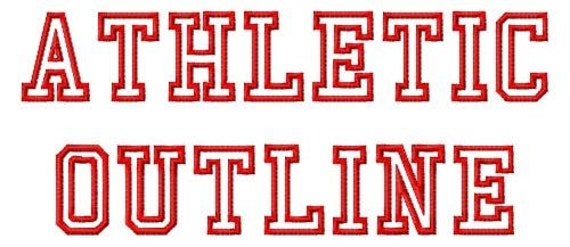 Athletic Outline Machine Embroidery Fonts 1393