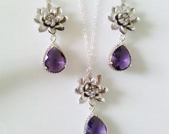 Bridal Amethyst purple necklace,weddings jewelry,bridesmaid gift,purple necklace,lotus flower necklace set,bridal necklace set