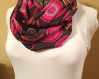 Gray With Pink And Orange Circles Infinity Circle Loop Eternity Scarf