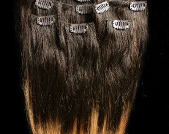 Clearance! 24inches 7pcs Clip In Human Ombre Hair Extensions T2/27