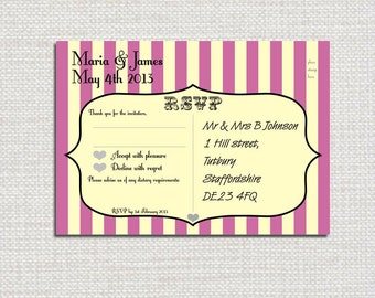 Printable Personalised Candy Stripe RSVP Postcard
