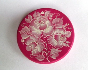 """1 piece 50 mm wood cabochon """"Bouquet of grace"""" handpainted by Alena Kitaev"""