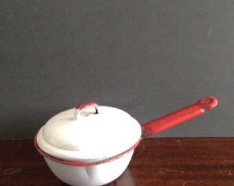 Red/White Enamelware Pot With Lid.