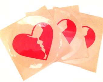 Kissy Face Heart Stickers