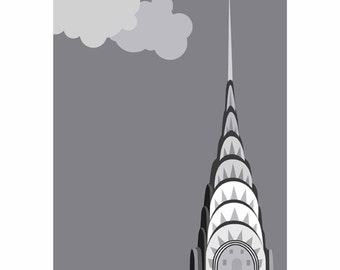 Christmas gifts, chrysler building, art print, NYC print, urban art, travel art, new york city skyline, cloud art, art deco poster, minimal