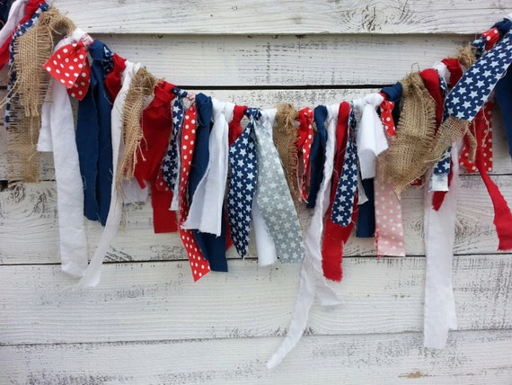 SHIPS NEXT DAY 4th of July Patriotic Fourth of July Rag Tie Garland