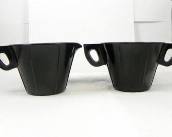 Black Depression Glass Sugar Creamer, Vintage Collectible Amethyst Ebony Set Art Deco