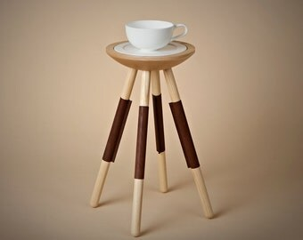 Tea for one table in natural leather