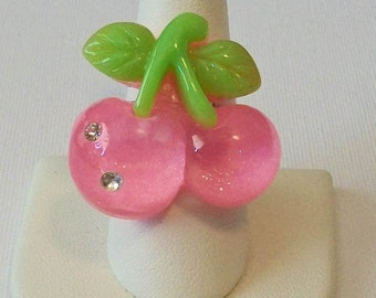 Summer Sweet Extra Large Pink Cherries with Rhinestones Fashion Ring Adjustable Band