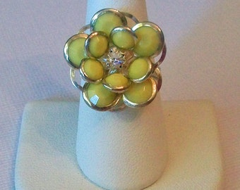 Bright Yellow Jeweled Petal Flower Shaped Fashion Ring Adjustable Band