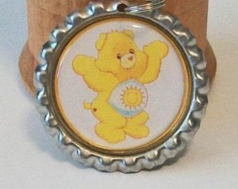 Retro Yellow Care Bear Inspired Sunshine Bear Flattened Bottlecap Pendant Necklace