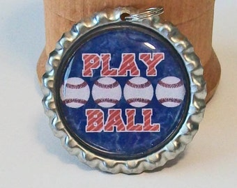 Red and Blue Play Ball Baseball Flattened Bottlecap Pendant Necklace