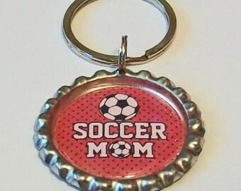Red Polka Dot Soccer Mom  Metal Flattened Bottlecap Keychain Great Gift
