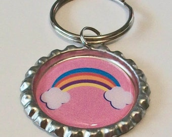 Fun Rainbow with Clouds In A Pink Sky Metal Flattened Bottlecap Keychain
