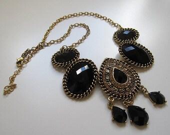 Vintage style black tear drop necklace, boho