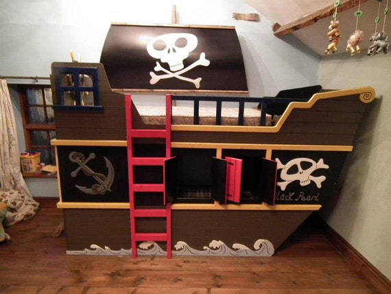 Pirate ship theme bunk bed with hideout and by ...