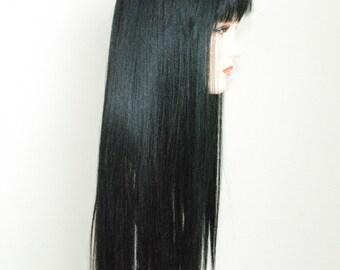 Jet black / long silky straight wig