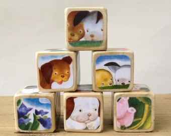 Poky Little Puppy // Childrens Book Blocks // Natural Wood Toy