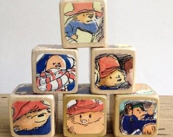 Paddington Bear // Childrens Book Blocks // Natural Wood Toy