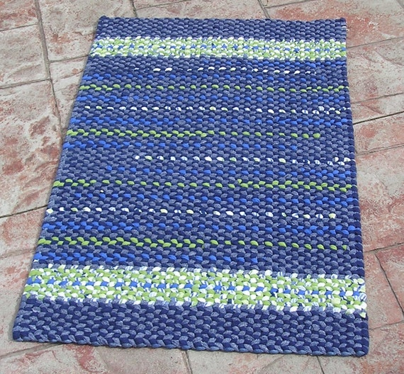 Lime Green Overdyed Rug: Handmade Twined Rug Navy Blue Lime Green By