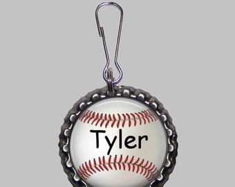Personalized Bottlecap Zipper Pull - Baseball