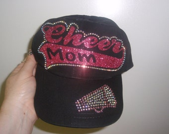Cheer Mom Cap, Cheer Mom rhinestone Hat, Cheer Hat