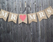 Ivory Coral Rustic Burlap Mr and Mrs Banner Bunting Photo Prop Sign Garland Country Chic Wedding Reception - BurlapElegance