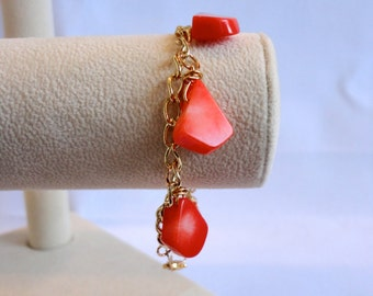 SALE, Coral Charm Bracelet, Coral Bracelet, Orange Coral Bracelet, Orange Bracelet, Charm Bracelet, Gold Coral Bracelet