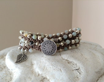 Amazonite and Silver Double Wrap Crochet Bracelet