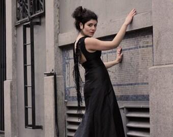 Gothic Wedding Gown - Victorian Wedding Dress - Steampunk Costume Gown - Black Wedding Dress - Alternative Wedding Gown
