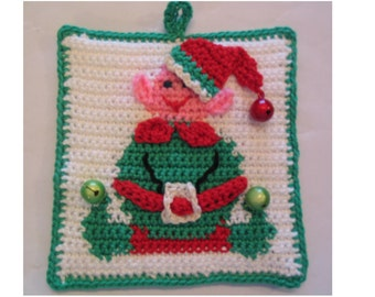Santa's Little Helper - Elf potholder pattern - INSTANT DOWNLOAD