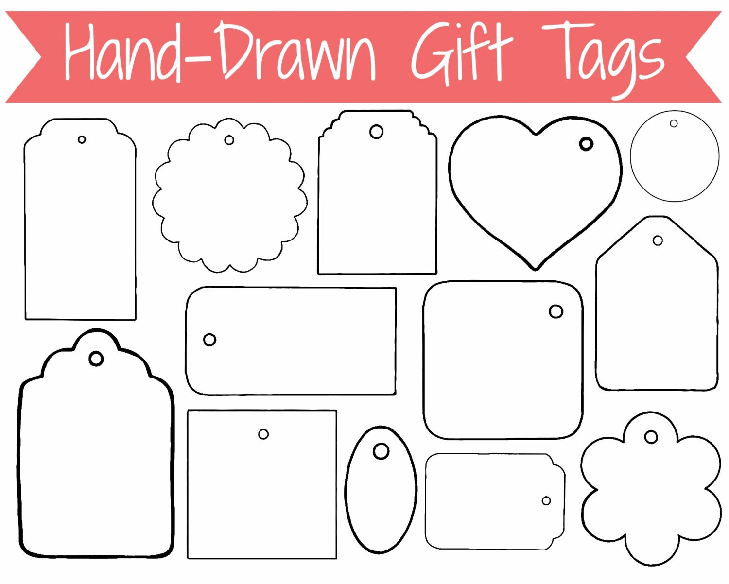 Gift Tags Hand Drawn Clip Art Graphics for by CommercialClipArt