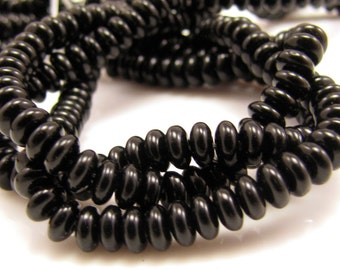 Jet Black Czech Glass 4mm Rondelle Beads 100 Beads  #1439
