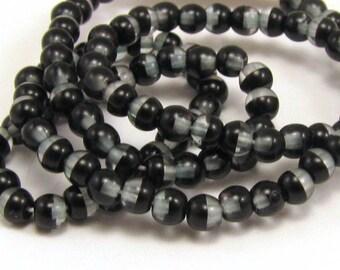 Black Half - Pale Blue 4mm  Round Czech Glass  Beads 100pc #S15
