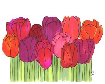 Spring Tulips - Illustration Art Print