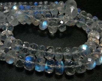 14 Inches AAA Quality Rainbow Moonstone Smooth  Faceted Rondells Full Filshy Fire Big Size 6 mm to 4 mm  Approx