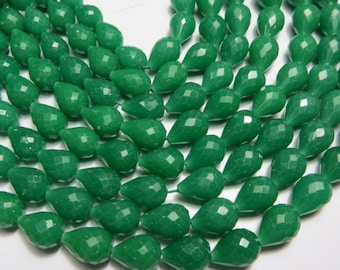 5 Strand 14 Inches AAA High Quality Green quartz  Micro Faceted Drop Shape  Size 6X9 mm Approx