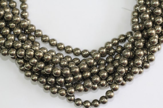"""Gold Pyrite 8mm smooth round beads 16"""" length full strand"""