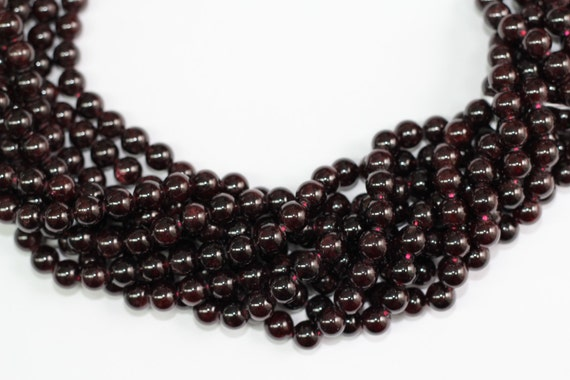 "Garnet 8mm smooth round beads 16"" length strand"