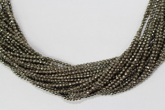 "Gold Pyrite 3mm faceted round beads 16"" length full strand"
