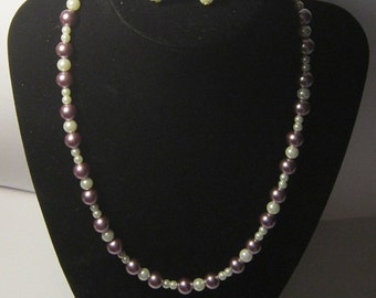 Dark Lilac & White Pearls Necklace and Earring Set