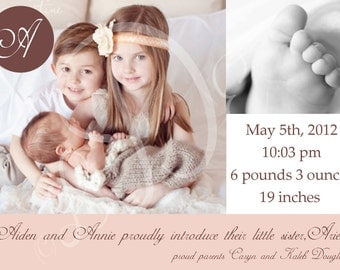 Sibling Custom Photo Birth Announcement