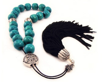 Greek Worry Beads Komboloi Blue Wood Beads with Silvertone Shield Bead & Black Tassel