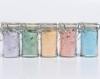 You Pick 2- Sea Salt Bath Soak- Party Favors- Foot Soak- Scented Bath Salts- 2 gift jars- 2 oz each