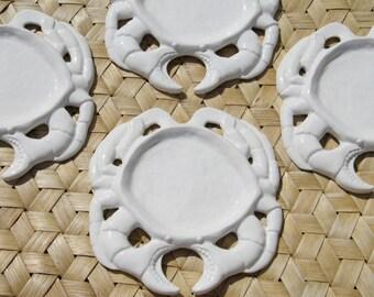 SET of Four White Crab Plates