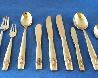 Polished 144 Pieces for 12 Gorgeous of Triple-Headed Elephant Design Thai/Siam Bronze/Brass Flatware/Cutlery, Matching, Complete